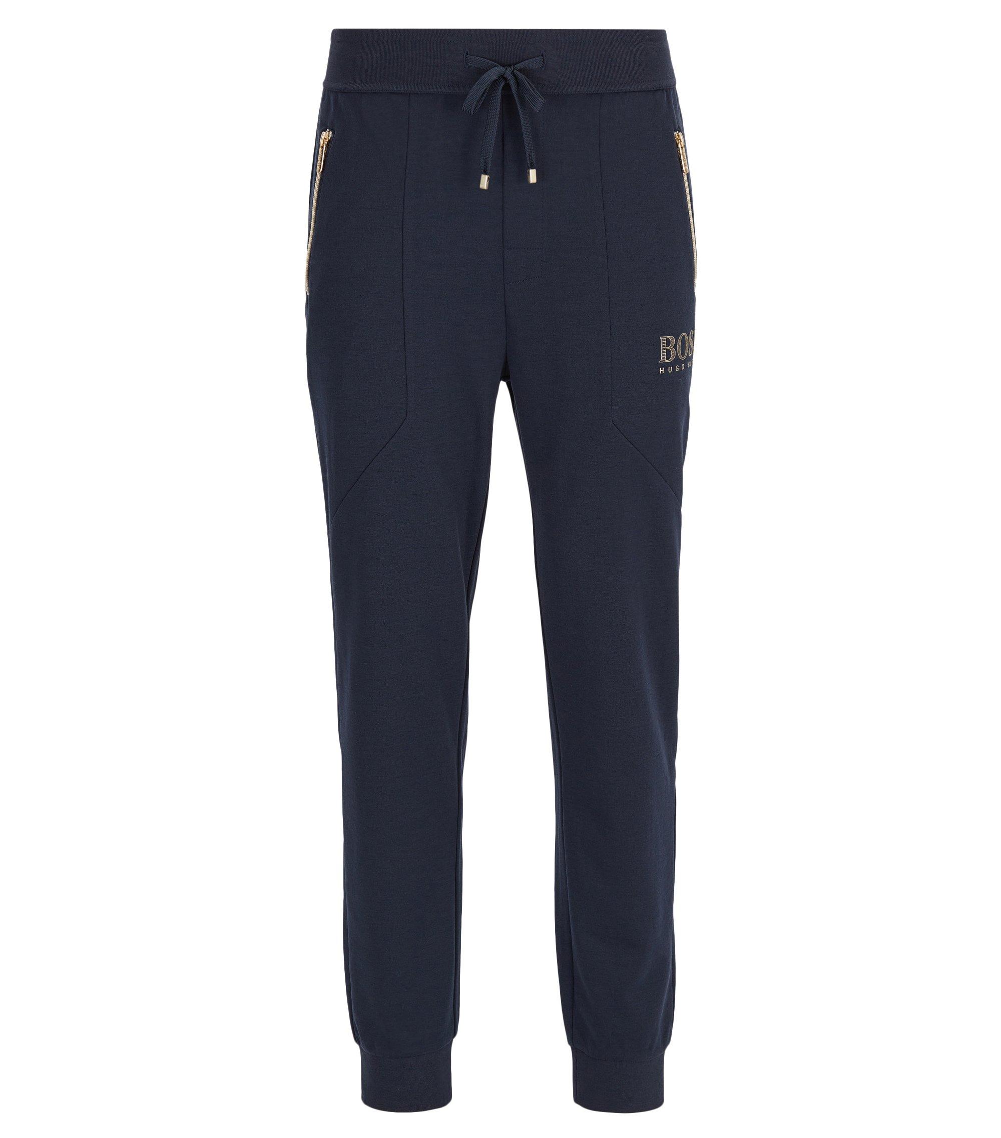 Pantalones loungewear en mezcla de algodón, Azul oscuro