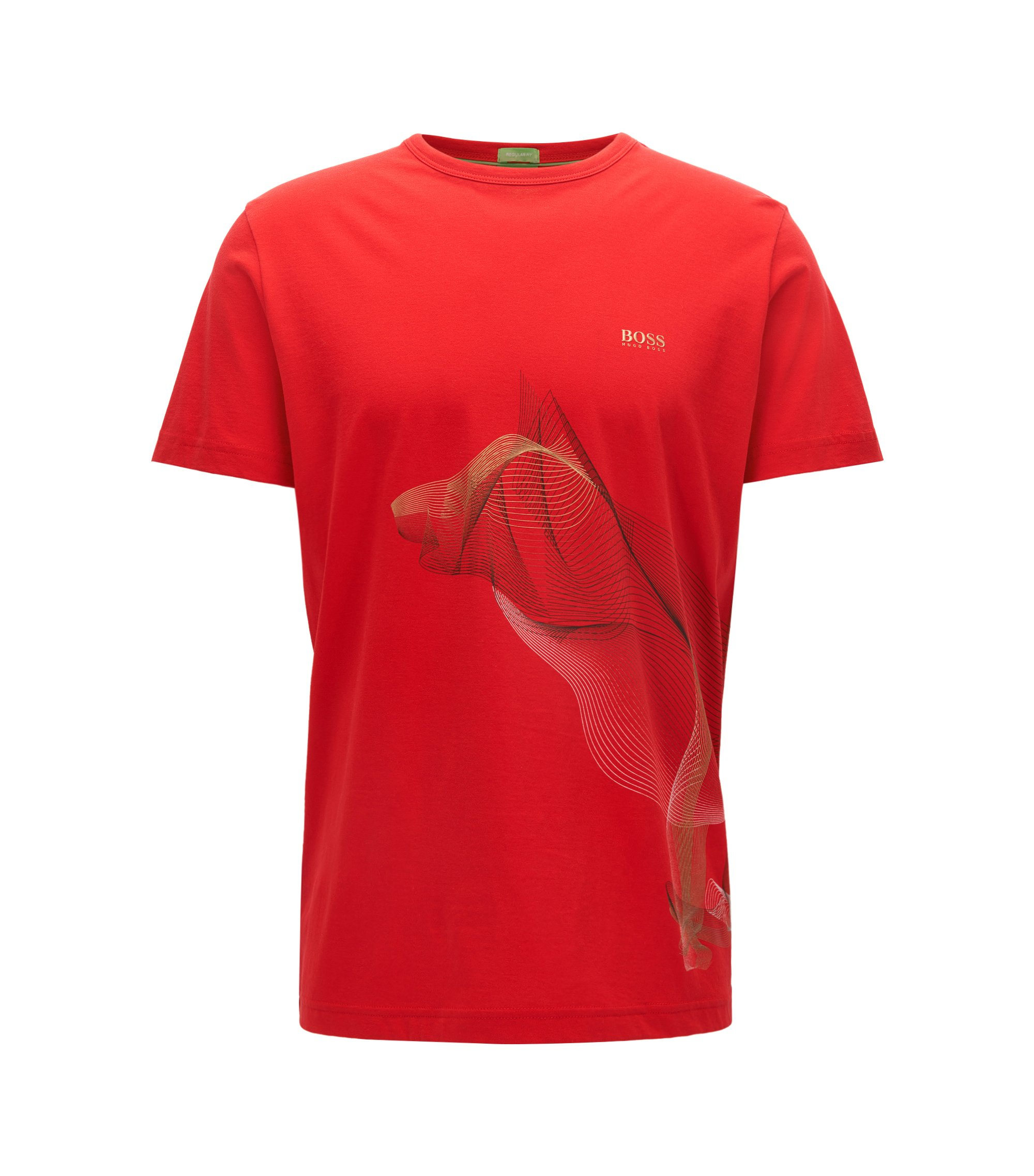 Camiseta regular fit de algodón con ilustración exclusiva, Rojo