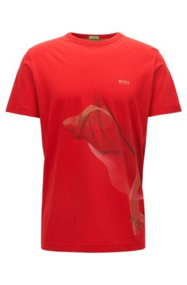 T-shirt Regular Fit en coton à motif artwork exclusif, Rouge