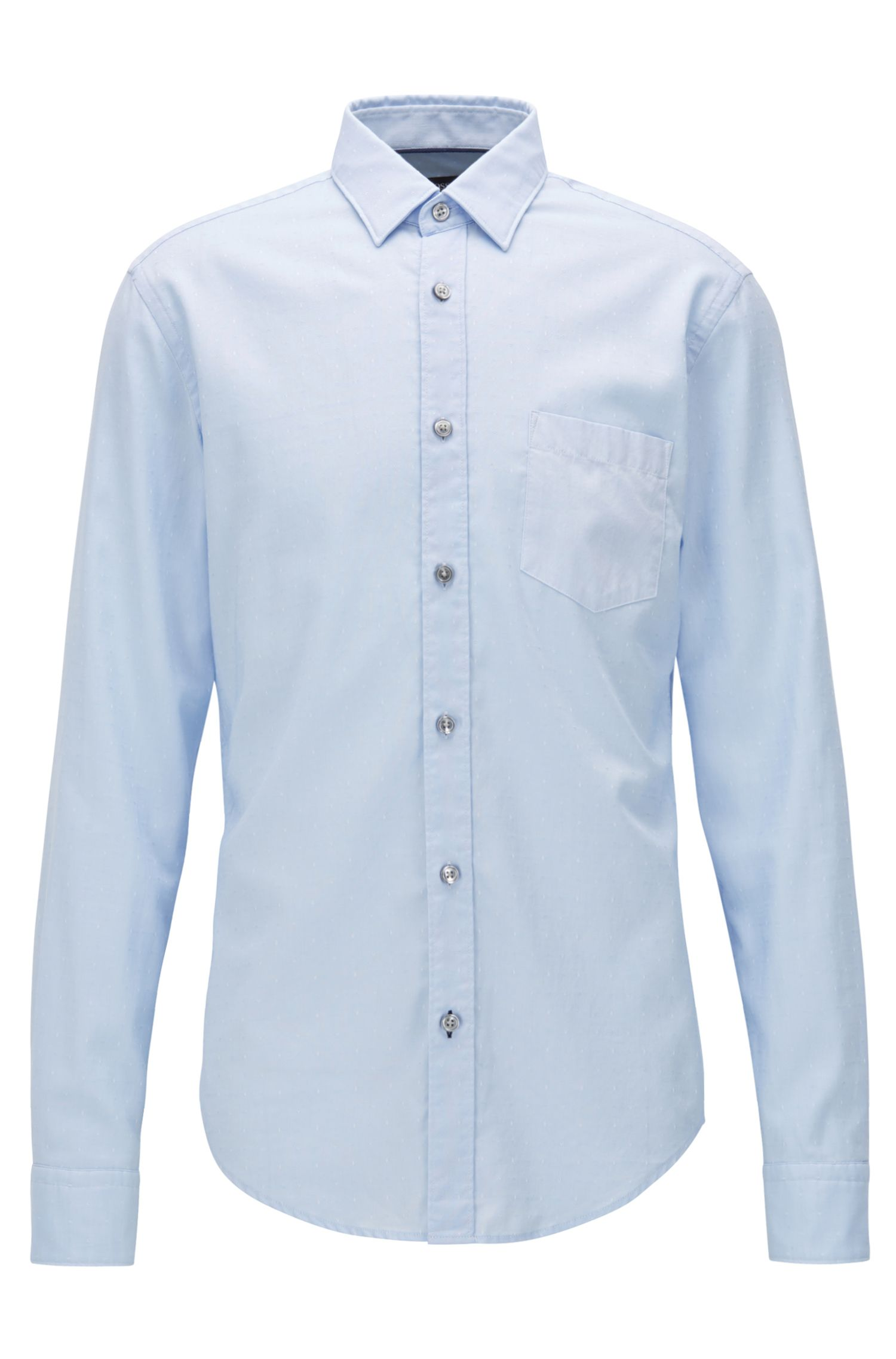 Slim-fit shirt in dobby Oxford cotton