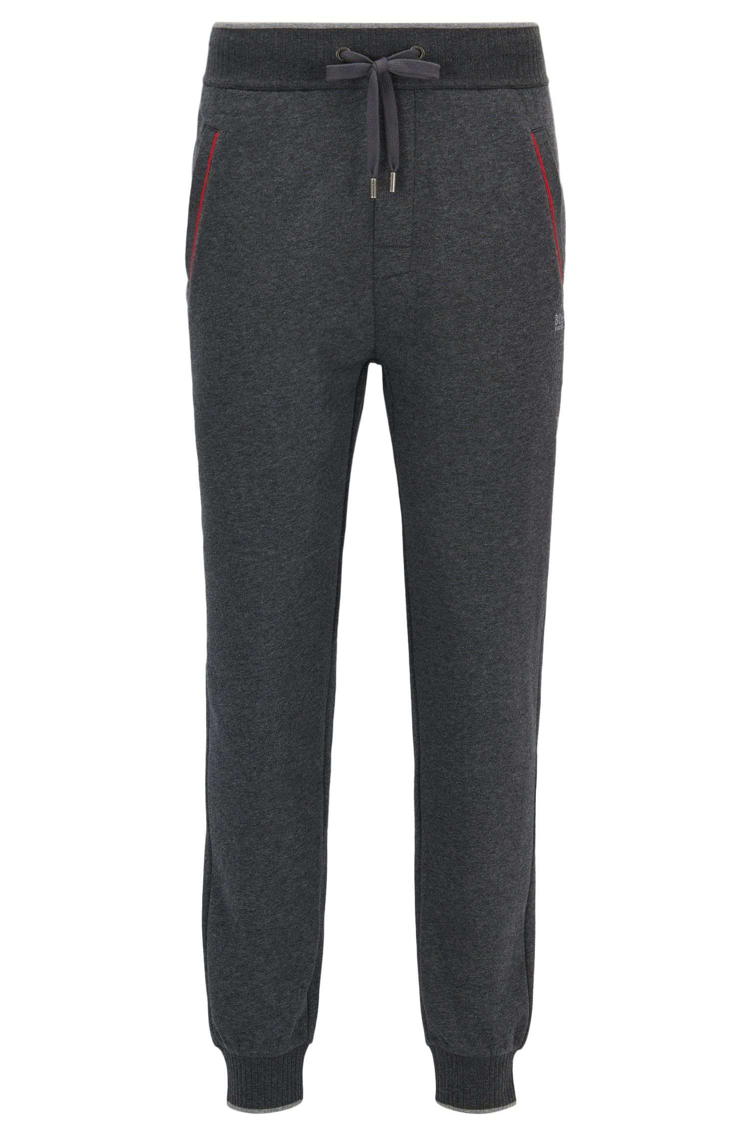 Cuffed jogging bottoms in cotton-blend terry