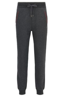 Cuffed jogging bottoms in cotton-blend terry, Grey