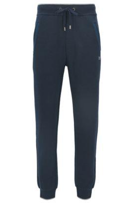 Pantaloni da jogging con fondo gamba elastico in misto cotone terry, Blu scuro