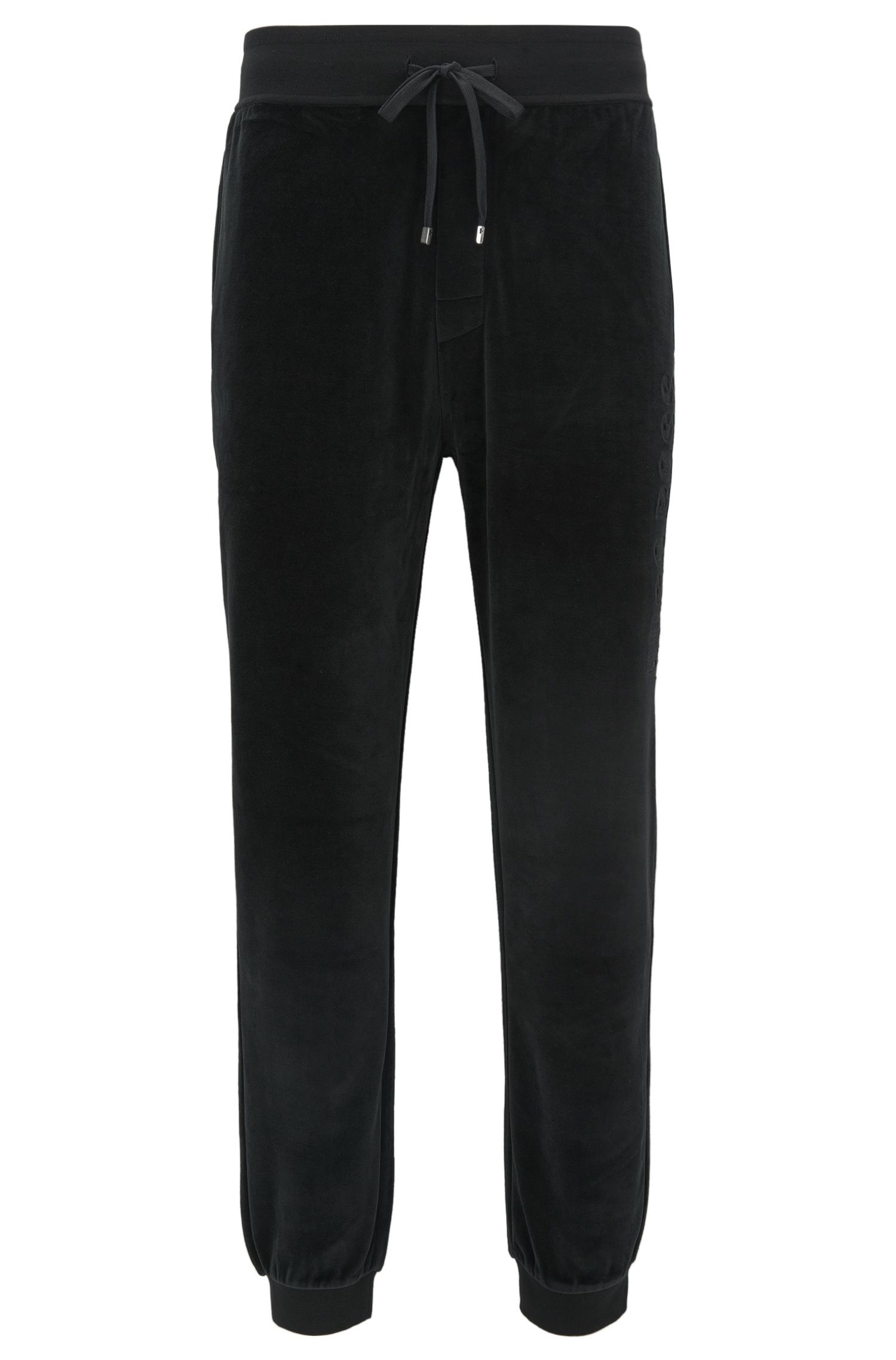 Velour trousers with cuffed hems