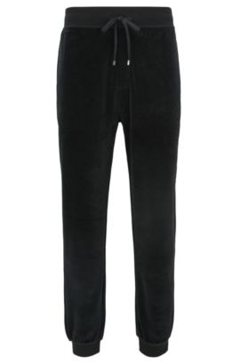 Velour trousers with cuffed hems, Black