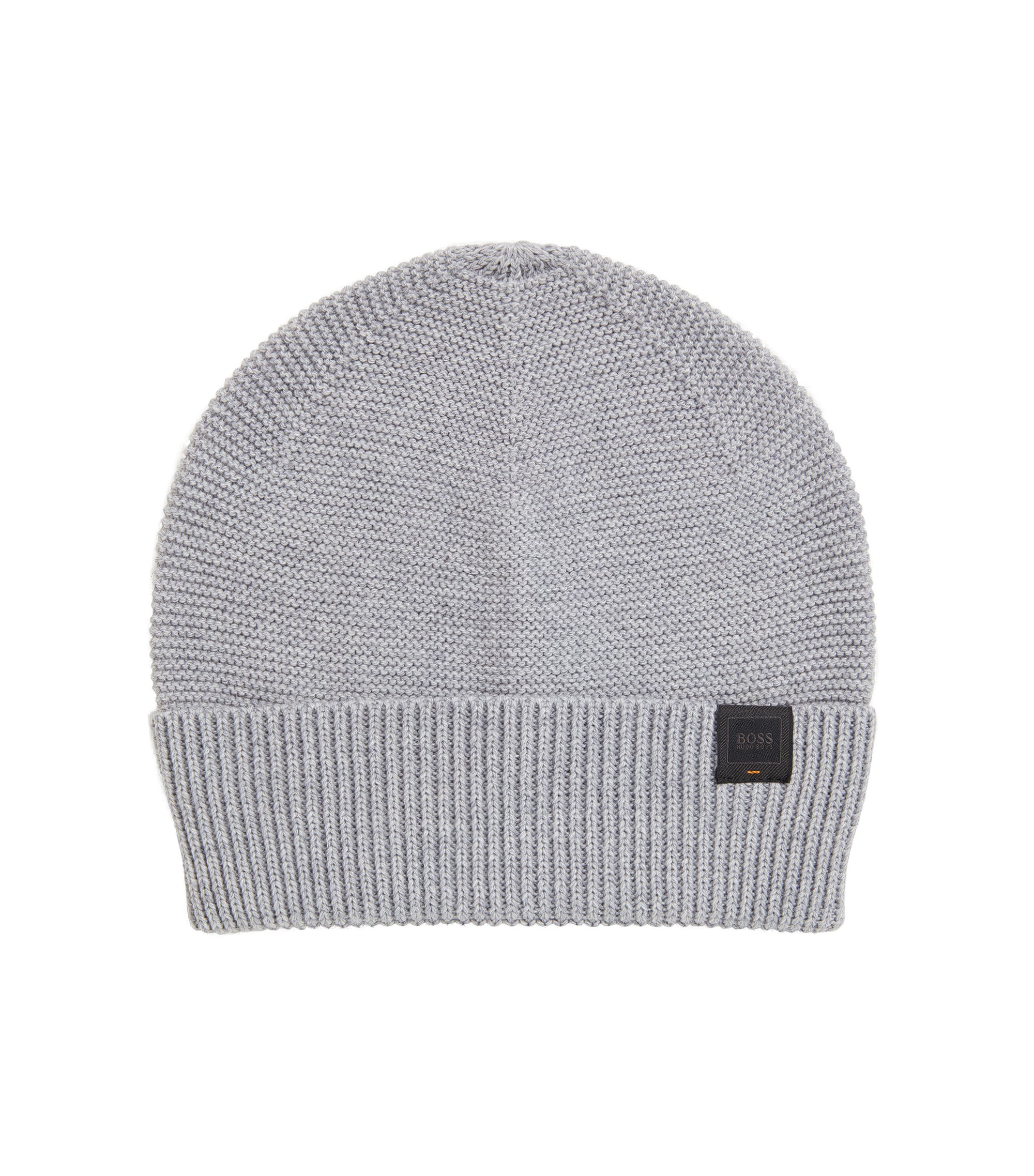 Knitted beanie hat with woven logo label, Light Grey