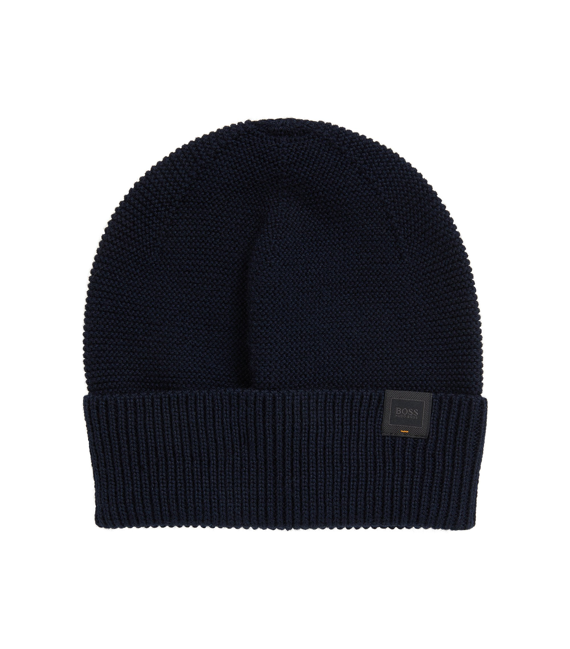 Knitted beanie hat with woven logo label, Dark Blue