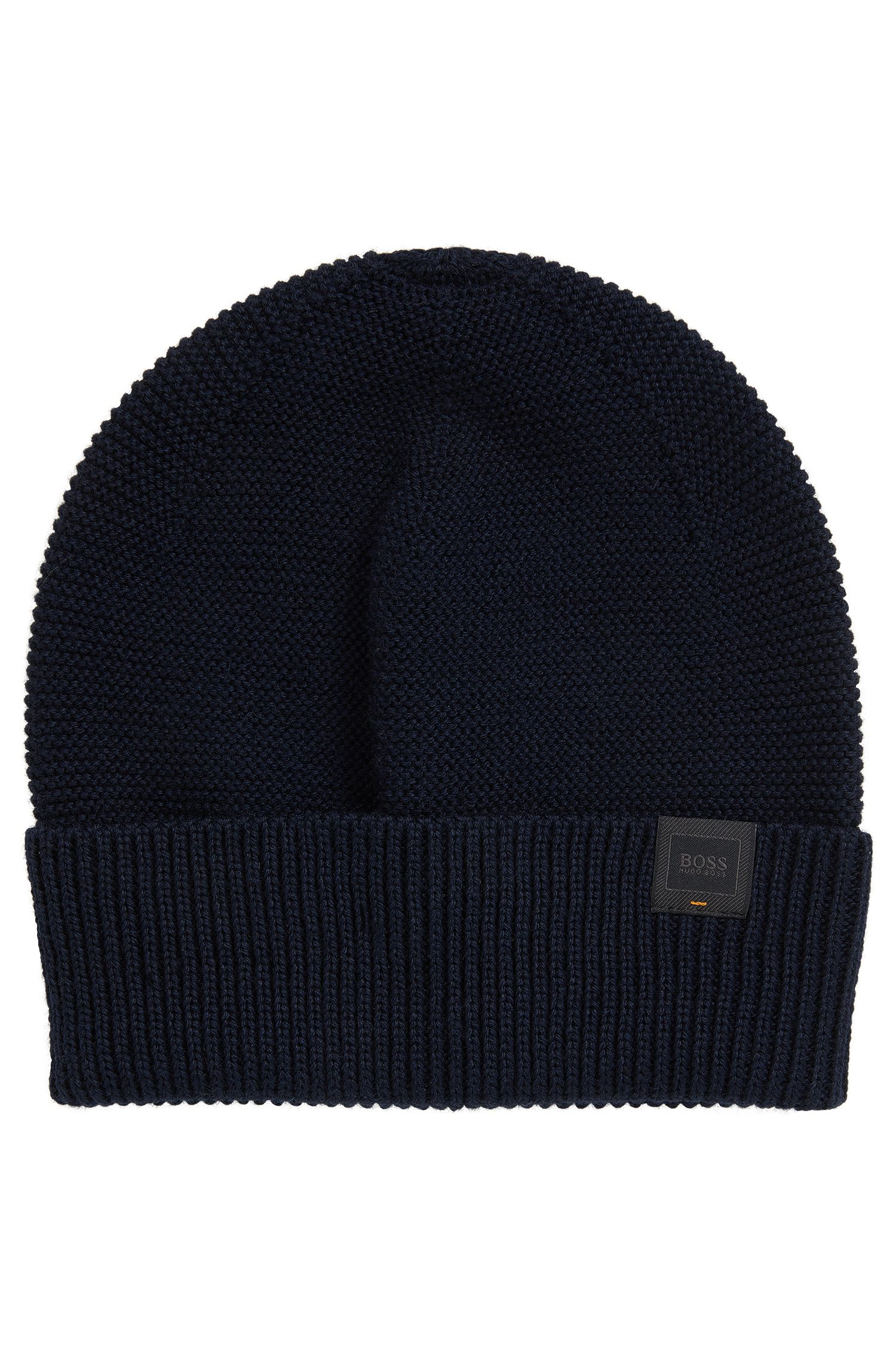 Knitted beanie hat with woven logo label