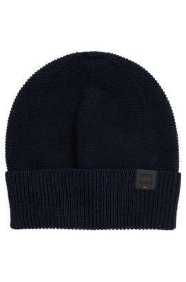Zuccotto in maglia con etichetta con logo intessuta, Blu scuro