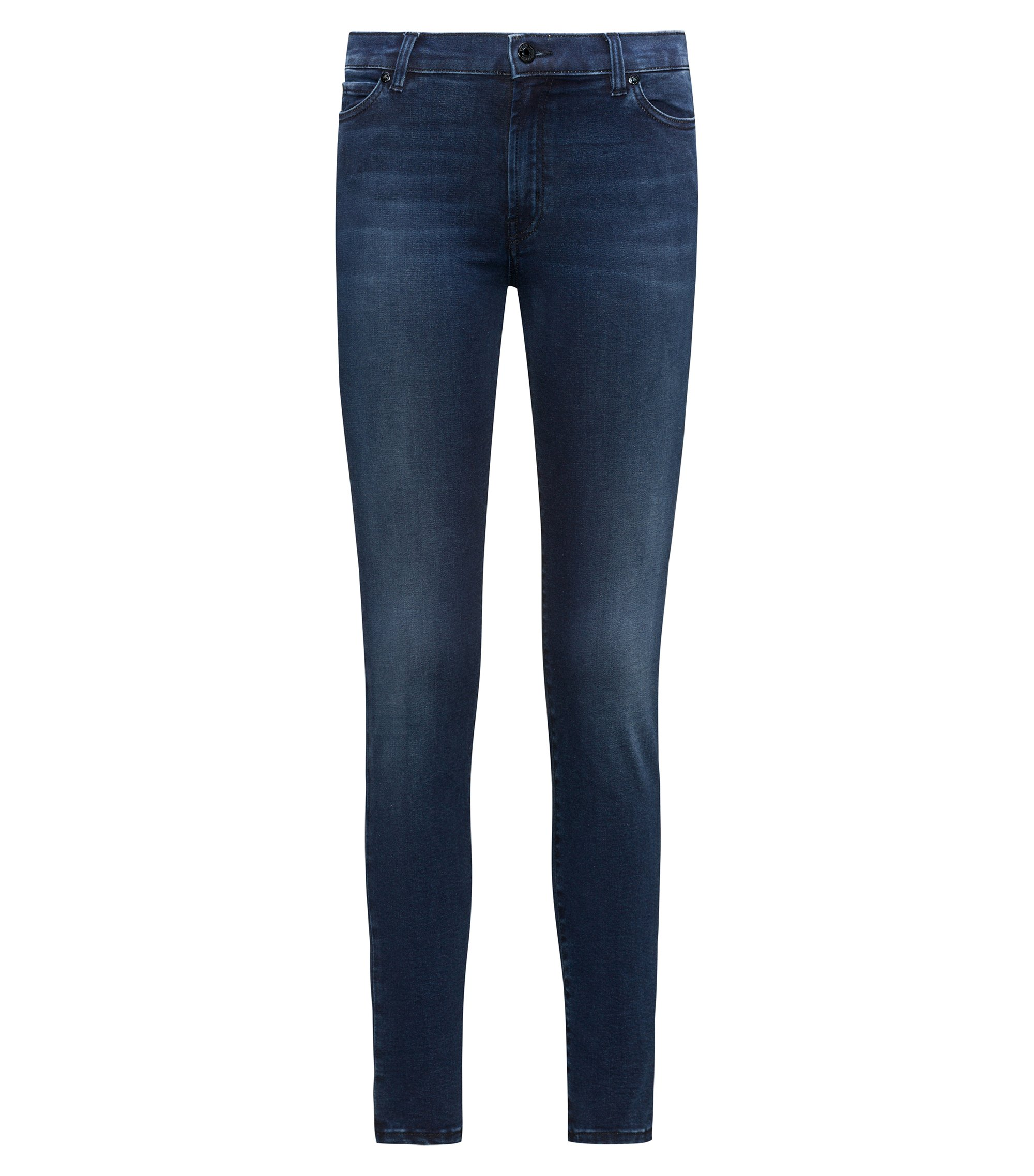 Extra-slim-fit mid-blue jeans in super-stretch denim, Dark Blue