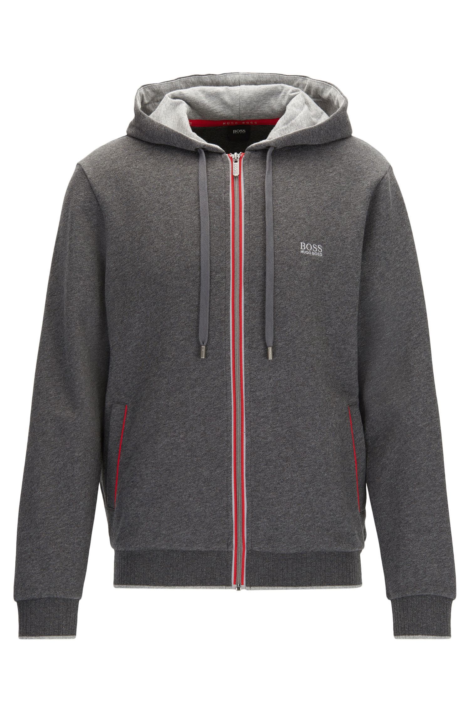 Regular-fit hooded jacket in brushed French terry