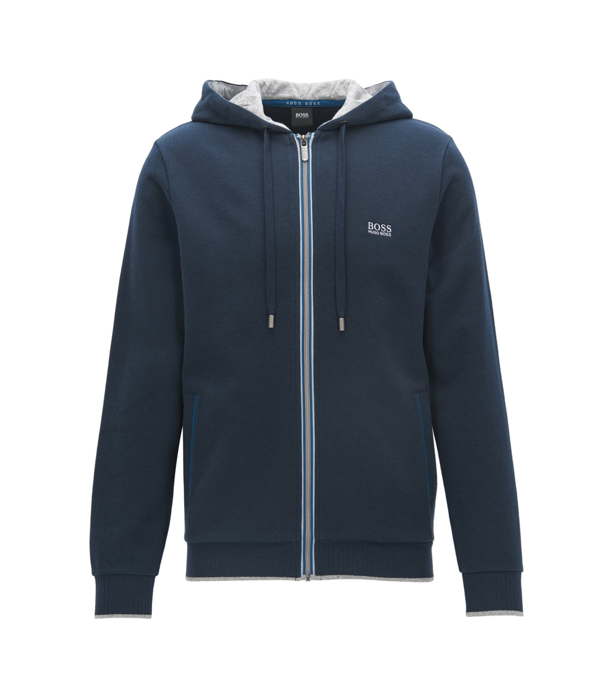 Regular-fit hooded jacket in brushed French terry, Dark Blue