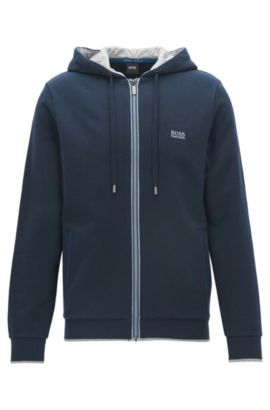 Regular-Fit Kapuzenjacke aus gebürstetem French Terry, Dunkelblau