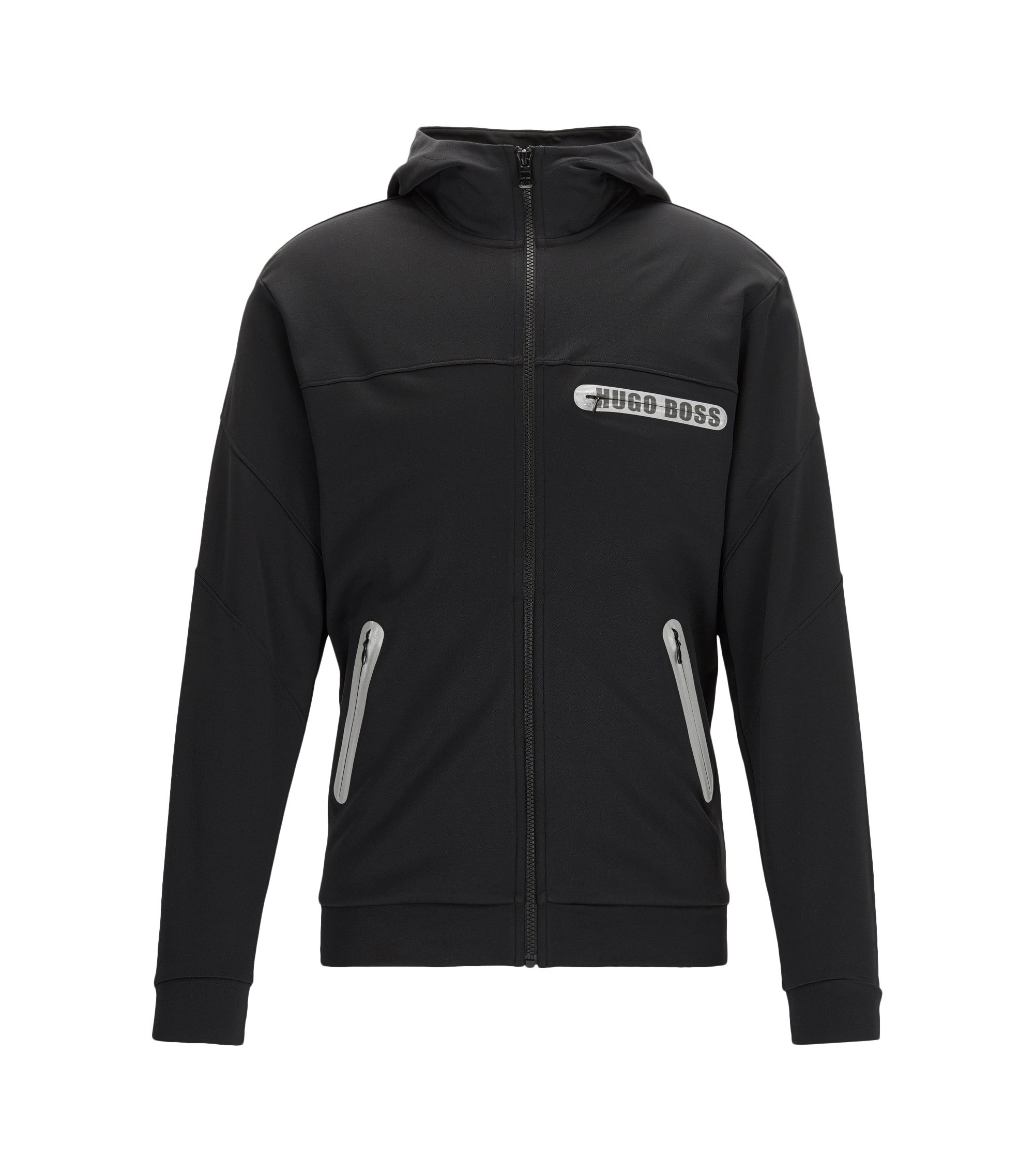 Regular-fit zip-through jacket in a cotton blend, Black