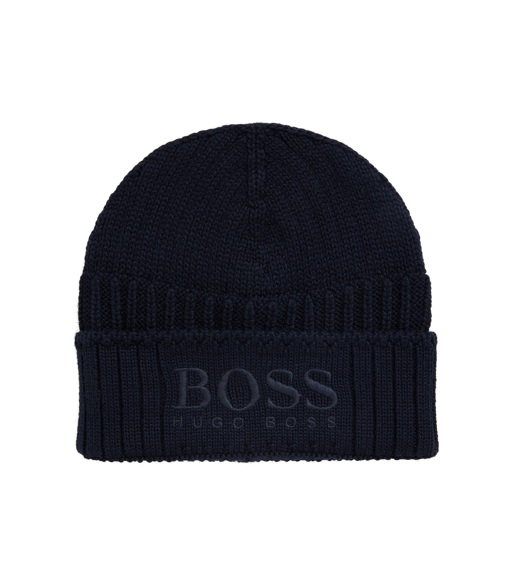 Knitted beanie hat with tonal logo, Dark Blue