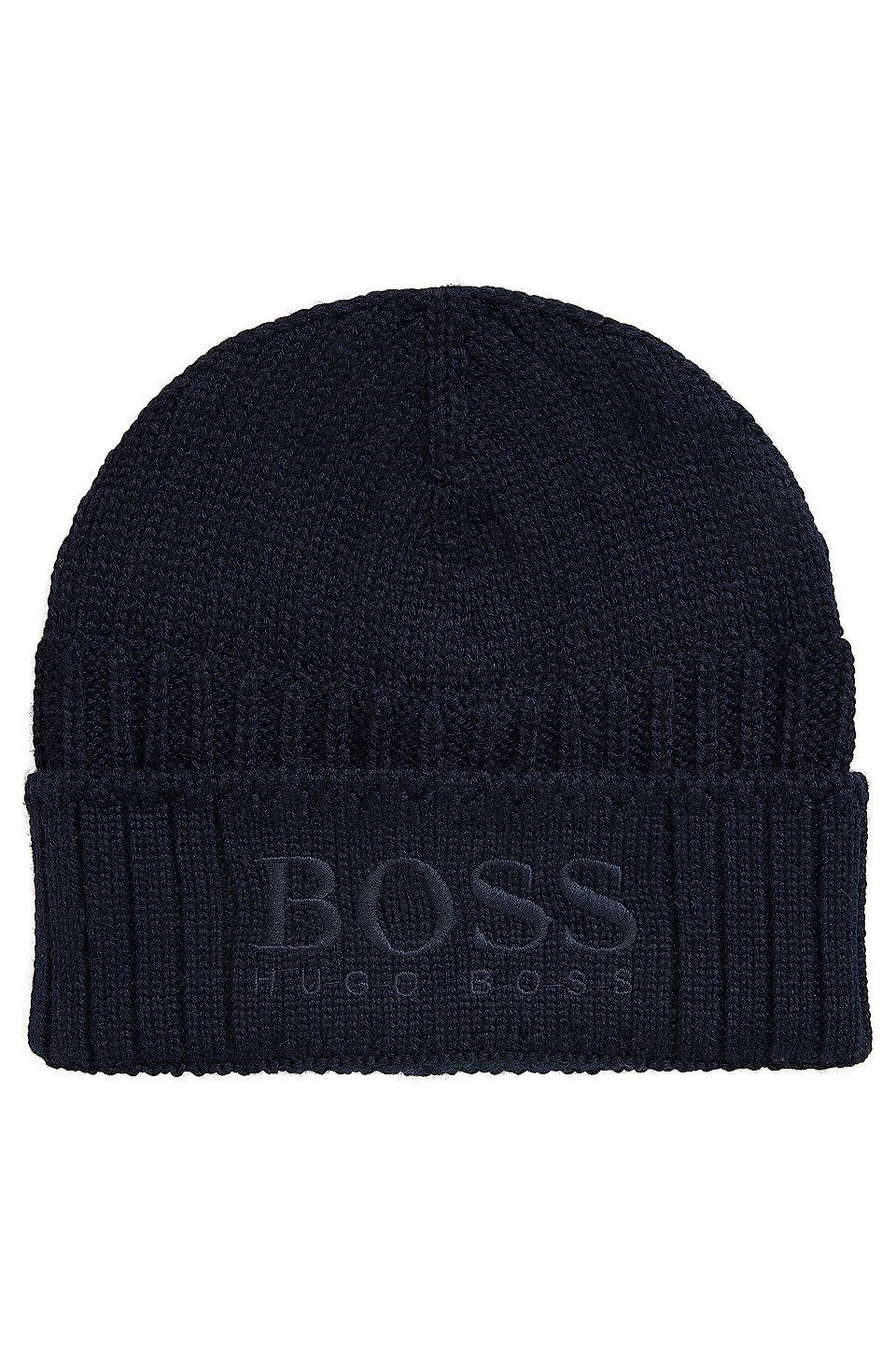 Knitted beanie hat with tonal logo, Dark Blue