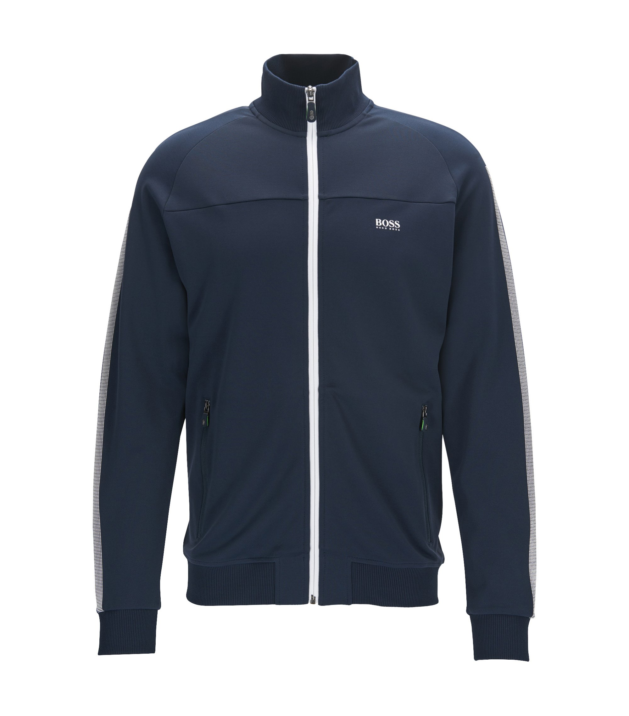 Regular-fit zipped sweatshirt in interlock piqué, Dark Blue