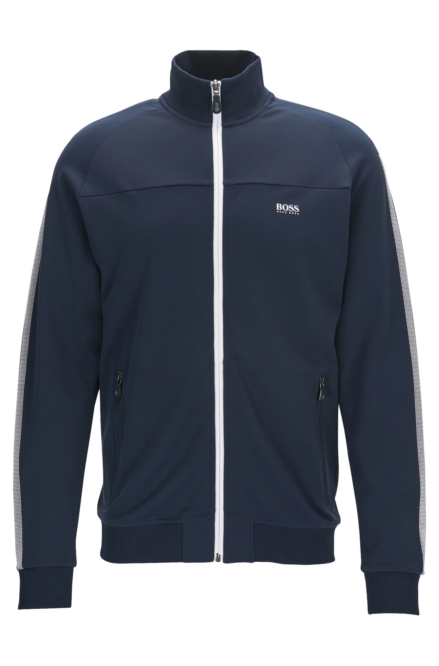 Regular-fit zipped sweatshirt in interlock piqué