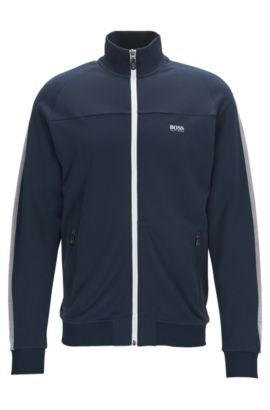 Regular-fit sweatshirt met rits in interlock piqué, Donkerblauw