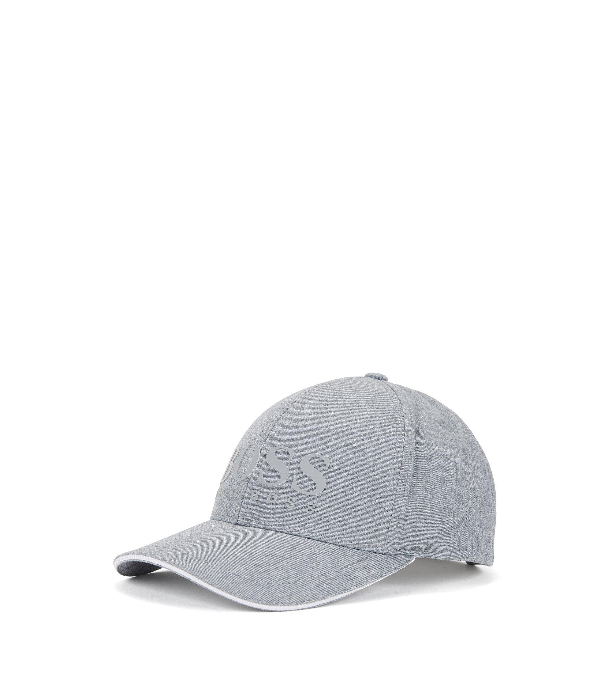 Cappellino da baseball con logo in misto cotone, Grigio chiaro