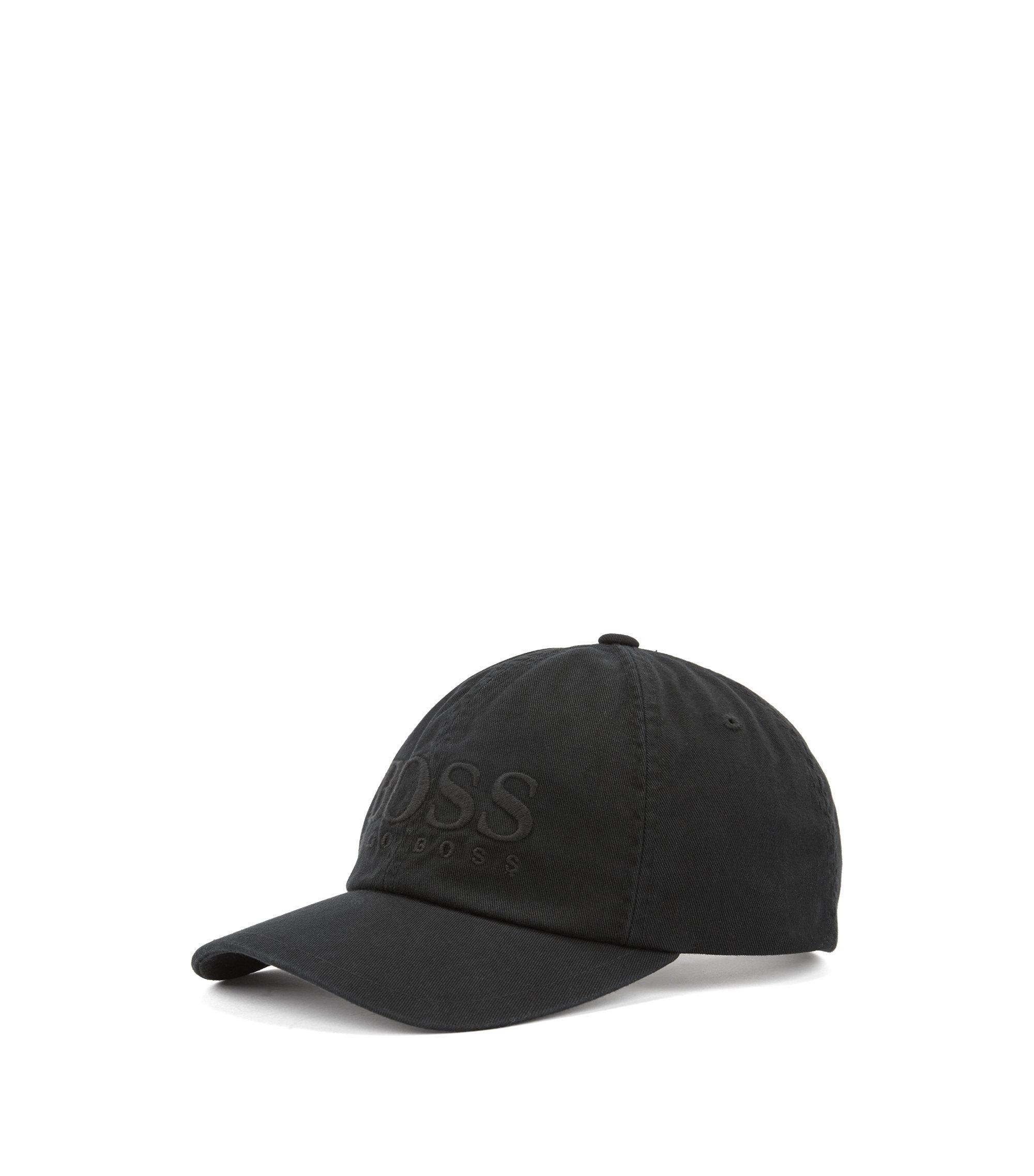 Cappellino da baseball con logo in twill di cotone, Nero