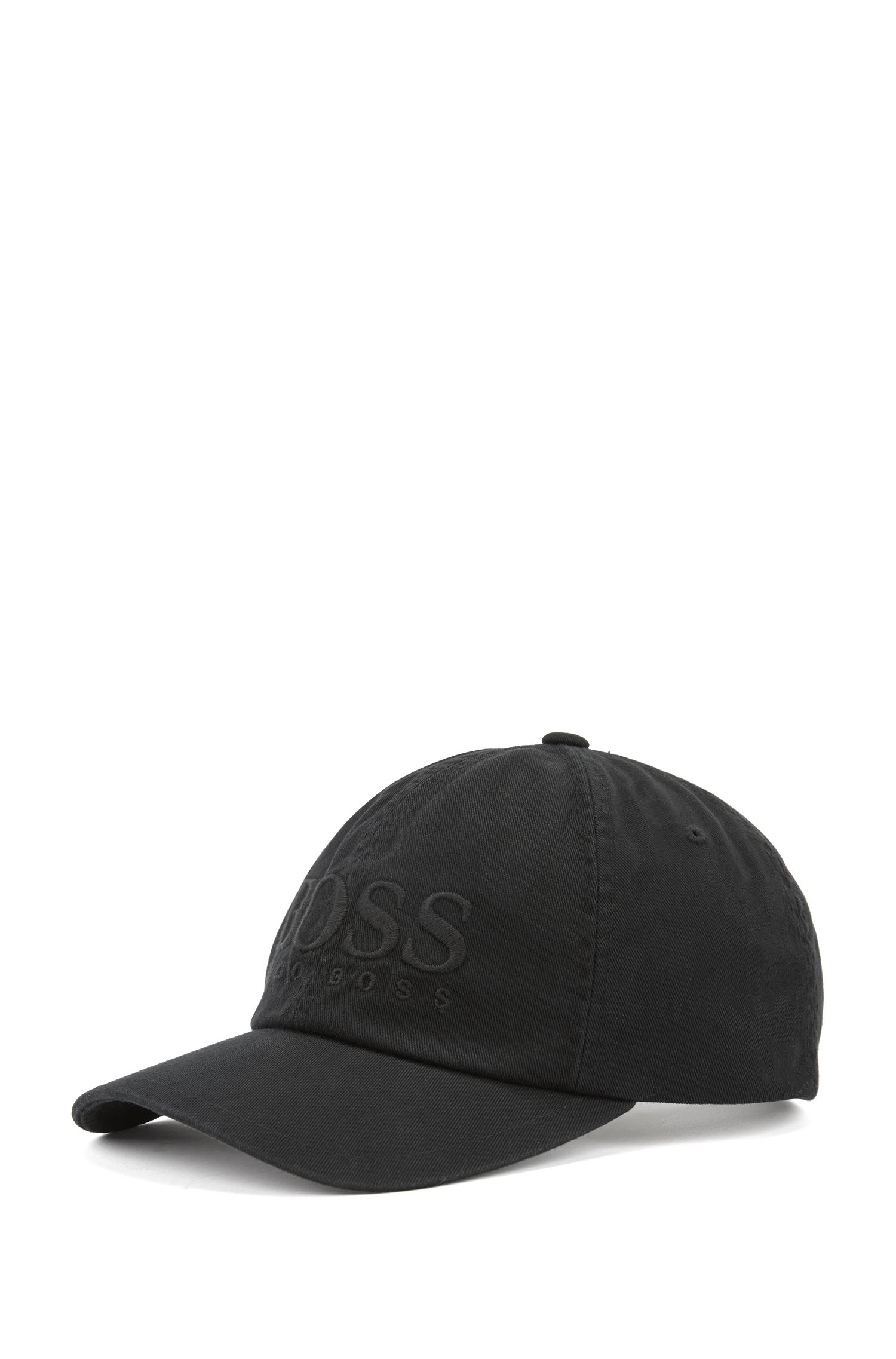Logo baseball cap in cotton twill, Black