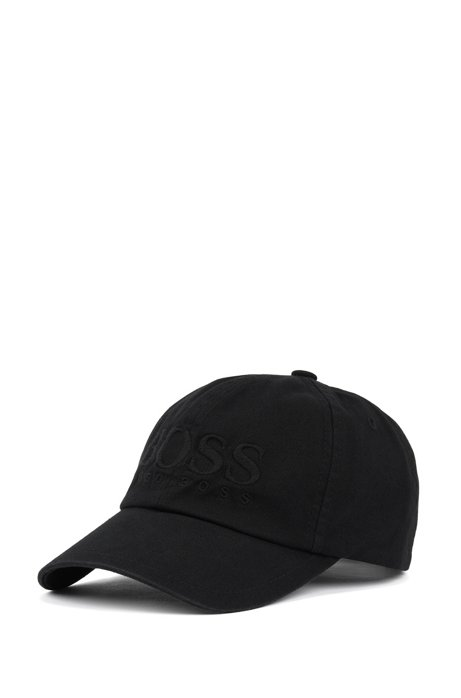 Cap aus Baumwoll-Twill mit Logo-Stickerei, Schwarz