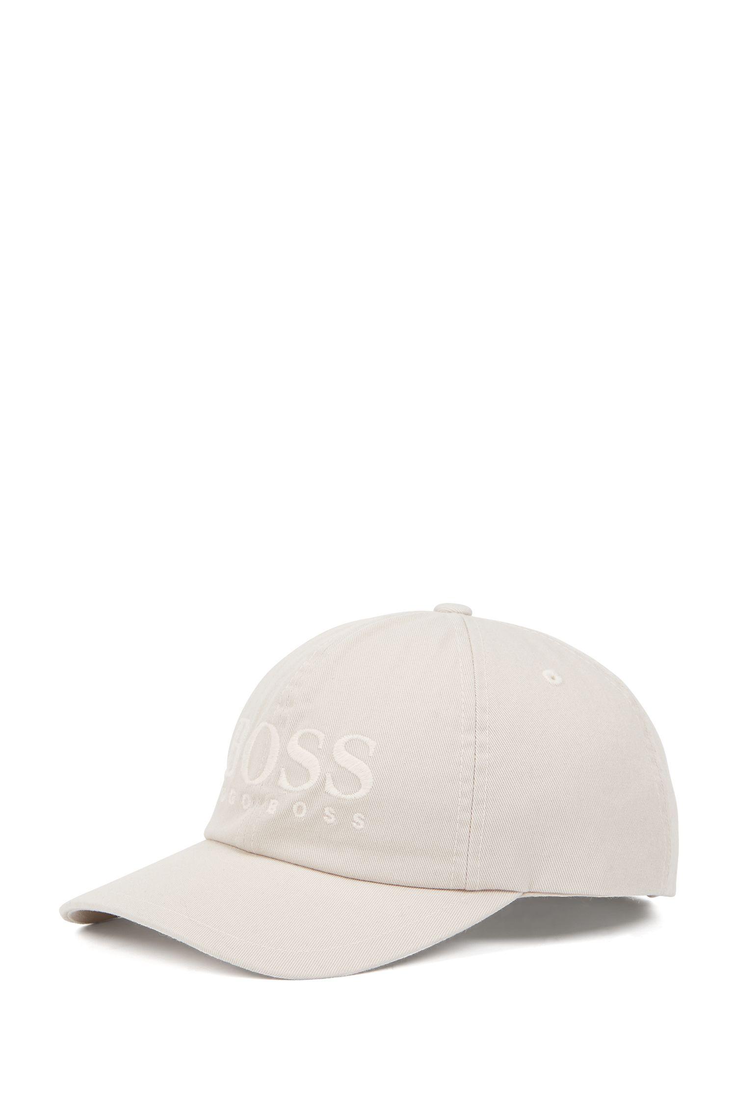 Gorra de béisbol en sarga de algodón con logo, Gris claro
