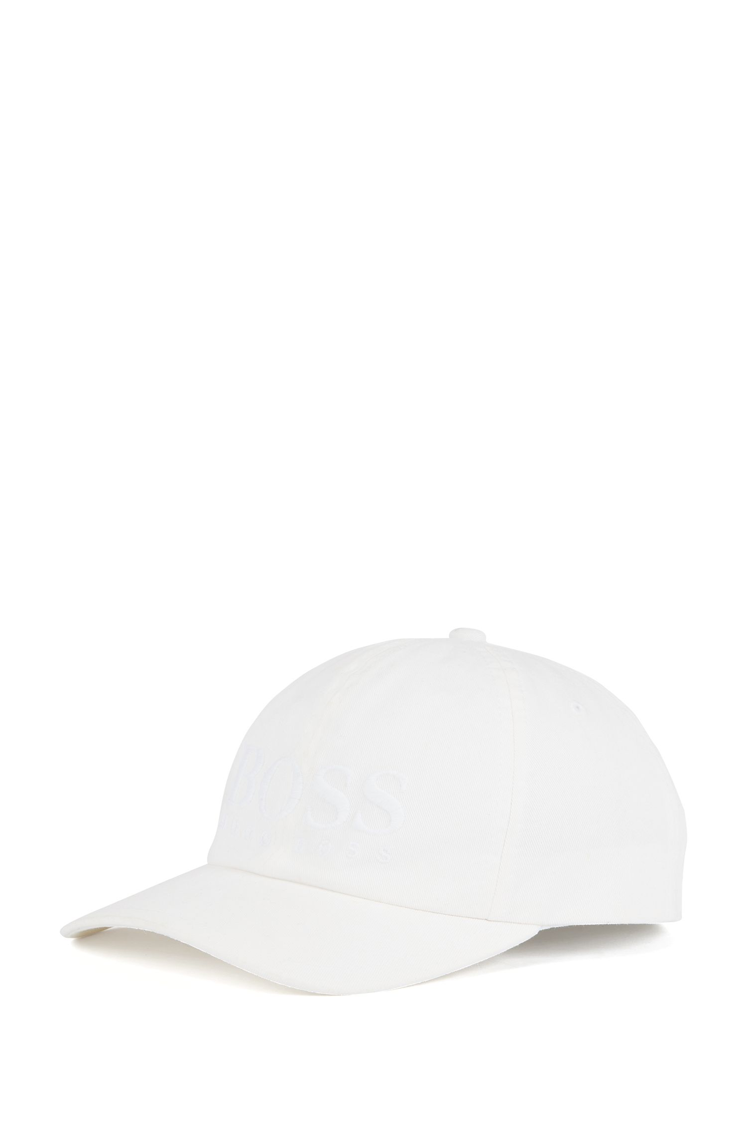 Logo baseball cap in cotton twill, White