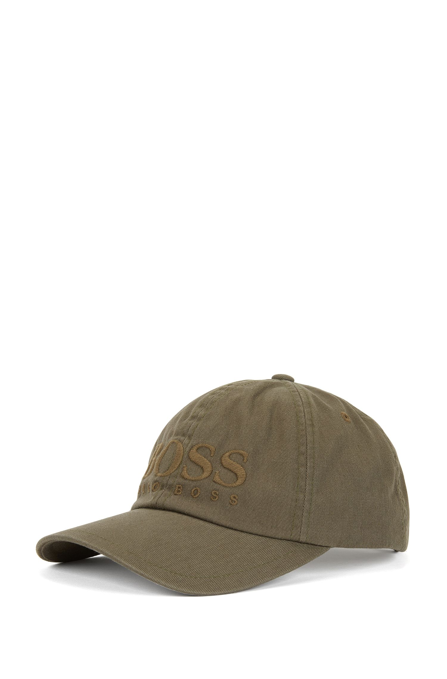 Logo baseball cap in cotton twill, Dark Green
