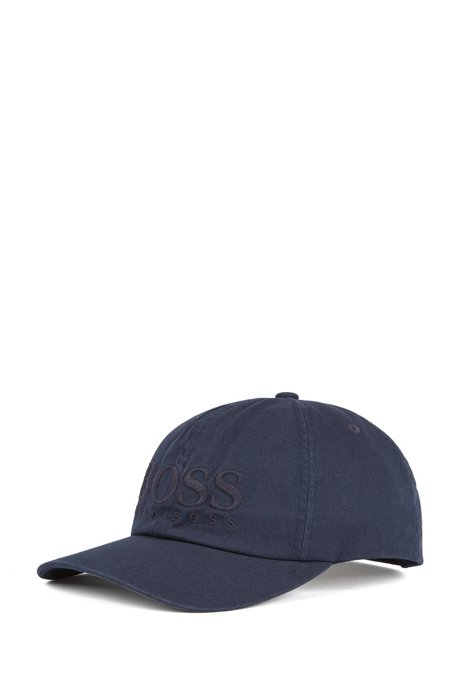 Casquette de base-ball en sergé de coton avec logo, Bleu foncé