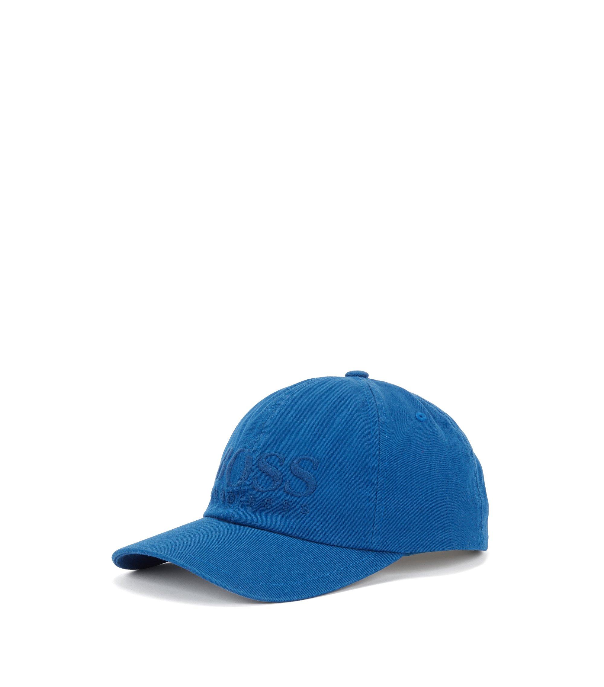 Casquette de base-ball en sergé de coton avec logo, Bleu