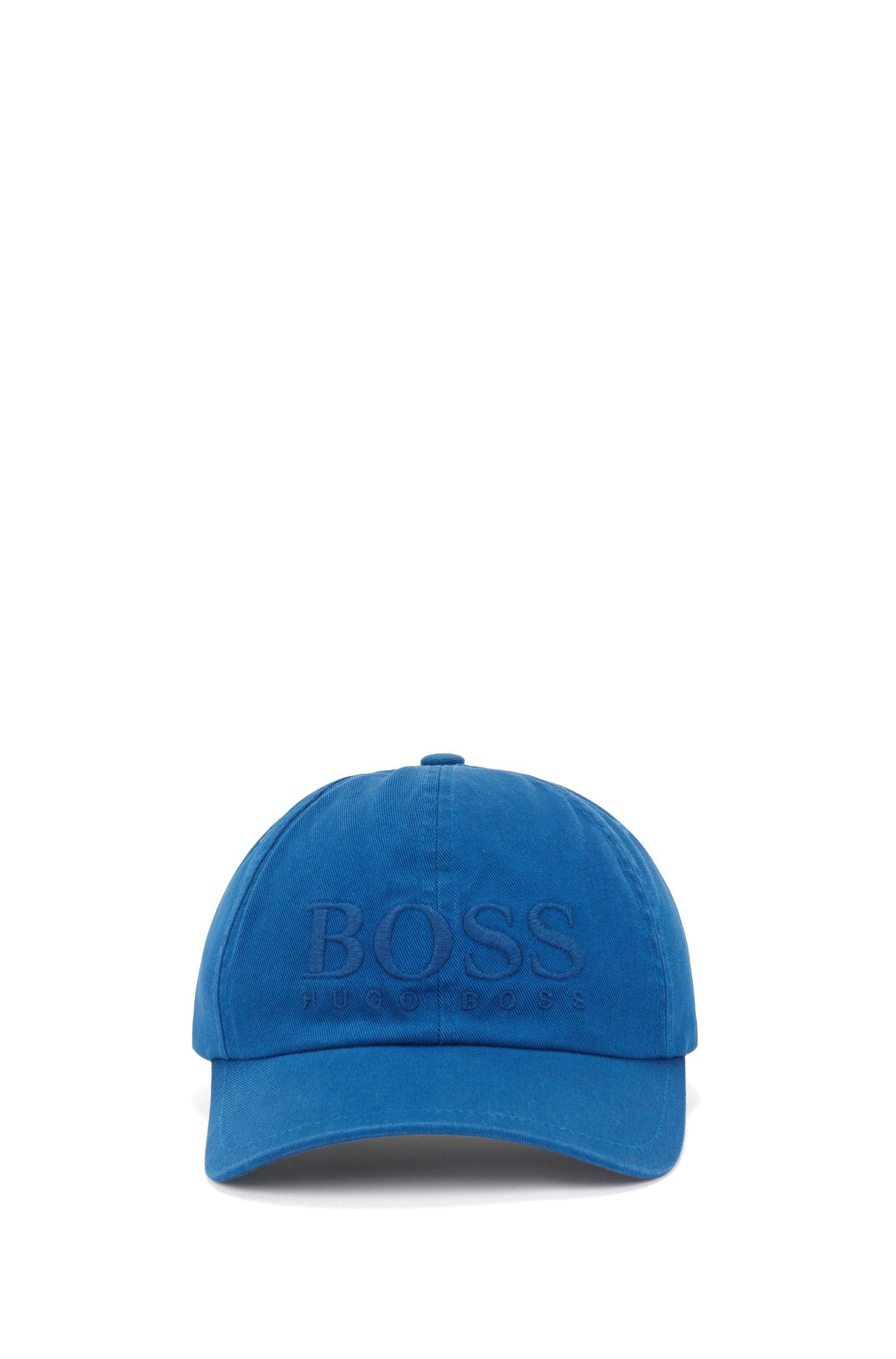 Cap aus Baumwoll-Twill mit Logo-Stickerei, Blau
