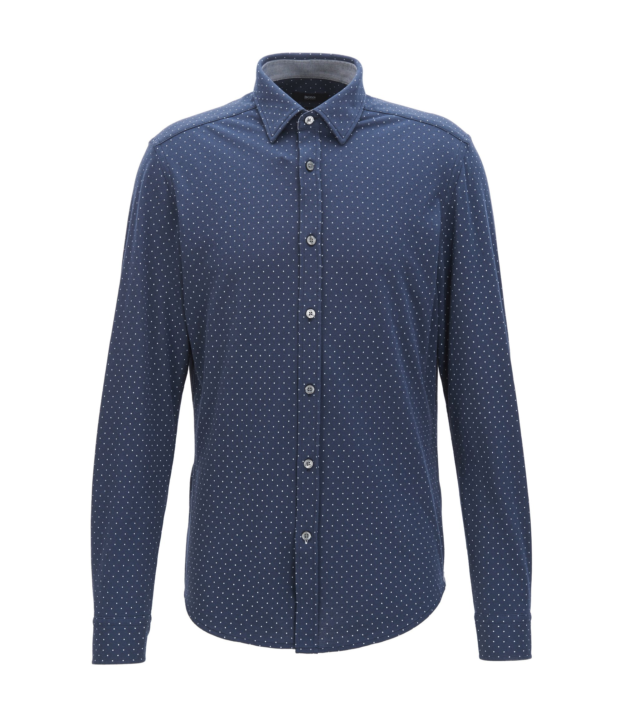 Polka-dot cotton shirt in a regular fit, Dark Blue