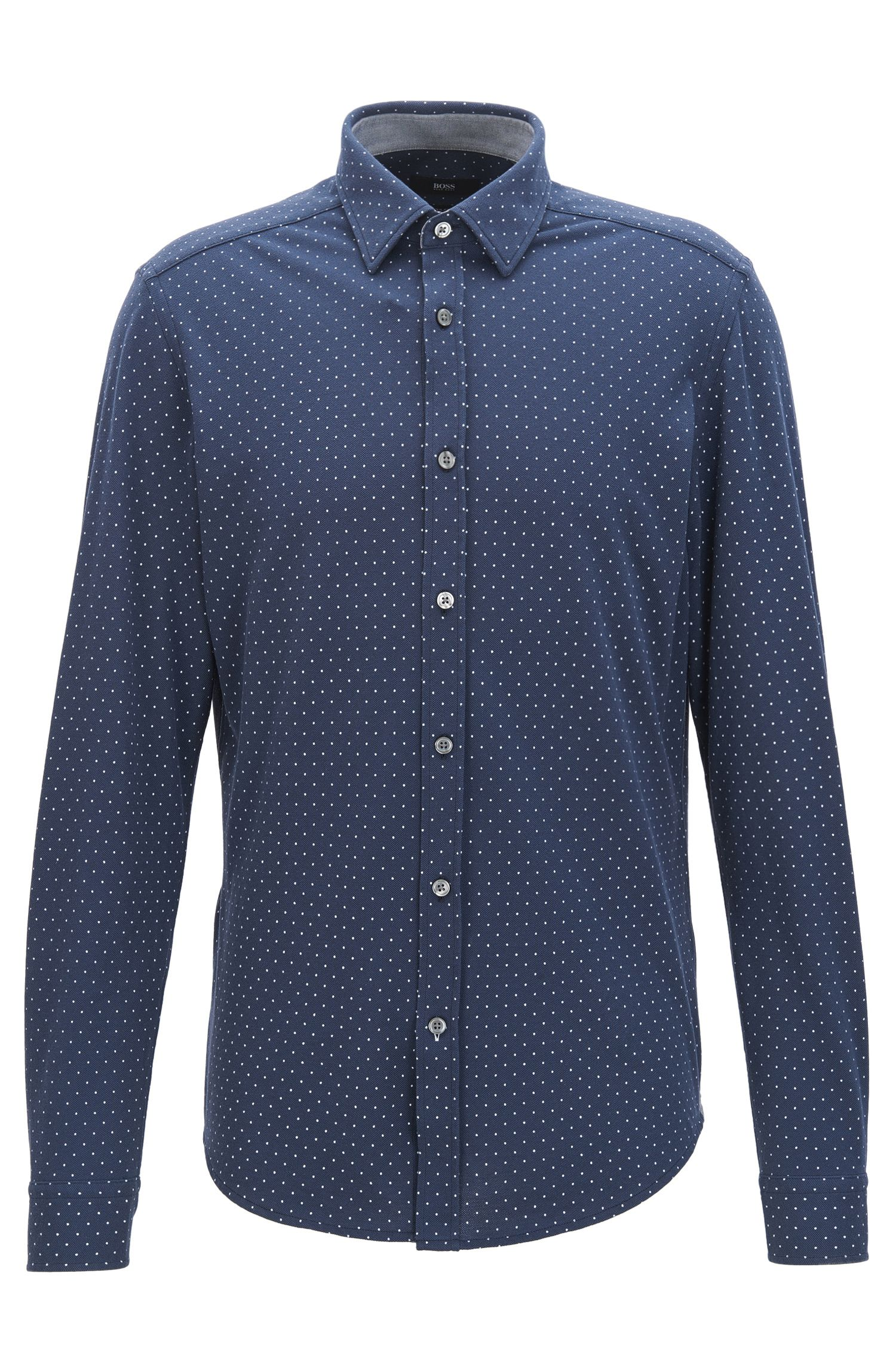 Polka-dot cotton shirt in a regular fit