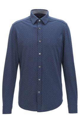 Chemise Regular Fit en coton à pois, Bleu foncé