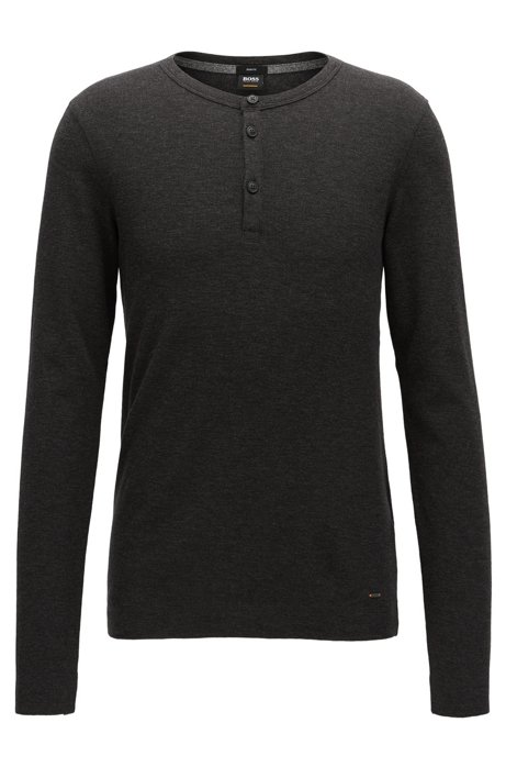 265c5e30f BOSS - Slim-fit Henley T-shirt in heathered cotton