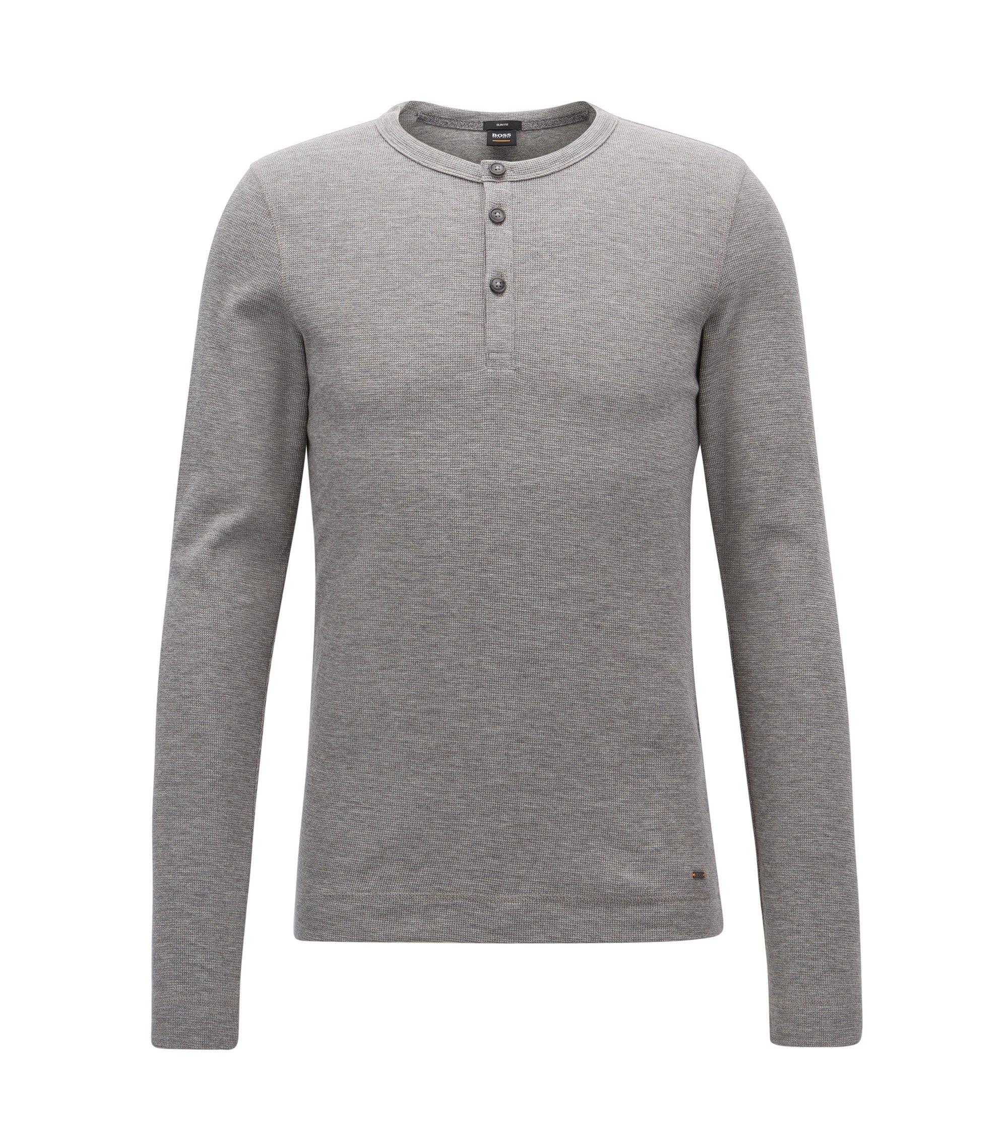 Slim-fit henley-T-shirt van gemêleerde katoen, Lichtgrijs