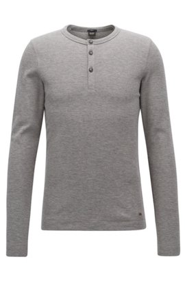 Slim-fit Henley T-shirt in heathered cotton BOSS Cheap Sale Big Sale Official Site Cheap Price Under 70 Dollars DH9roz5