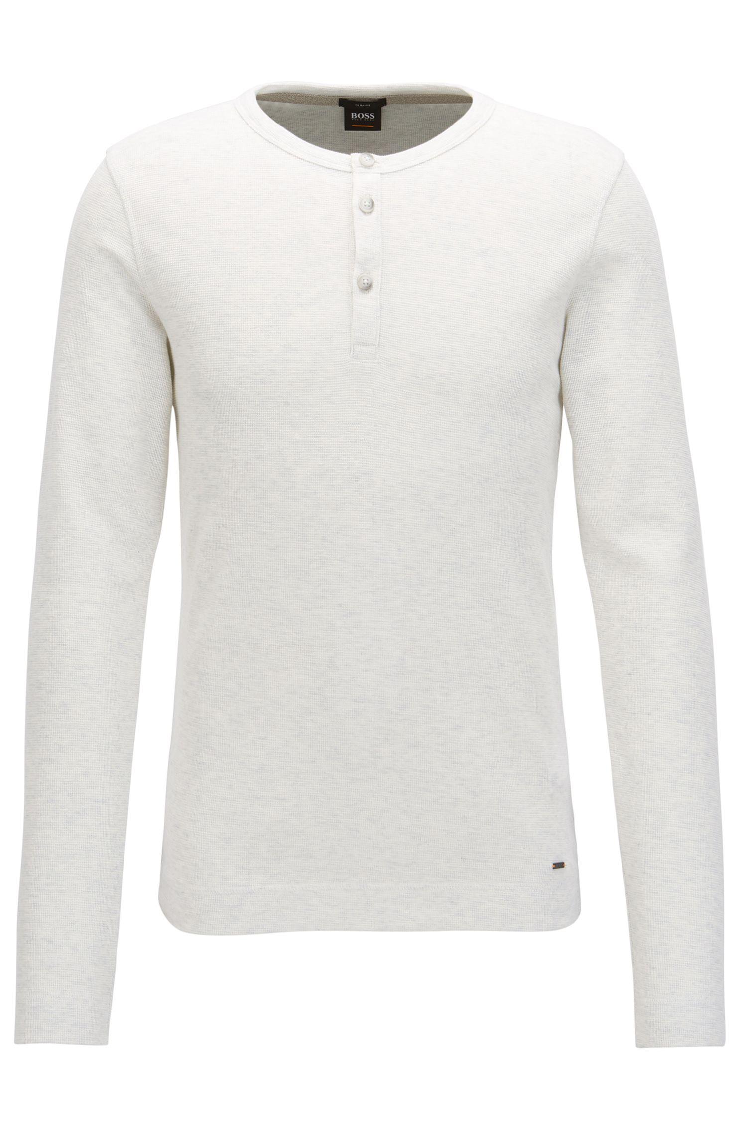 T-shirt à col tunisien Slim Fit, en coton chiné