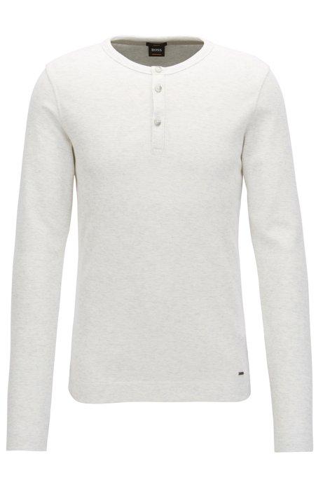 3770be53c Slim-fit henley-T-shirt van gemêleerde katoen, Naturel