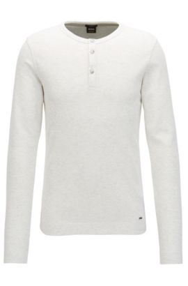 Slim-fit henley-T-shirt van gemêleerde katoen, Naturel