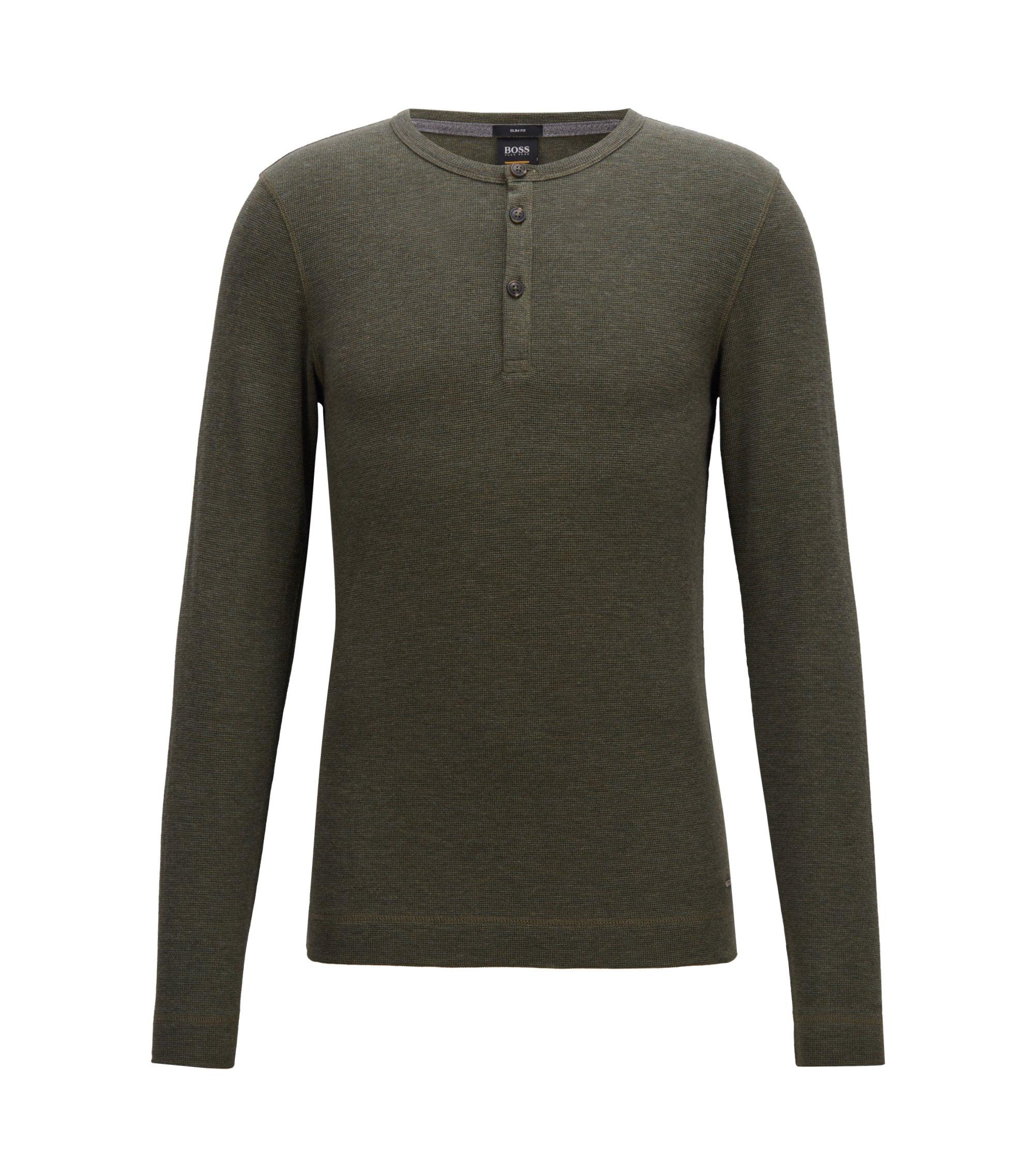 Camiseta slim fit estilo Henley en algodón jaspeado, Verde oscuro