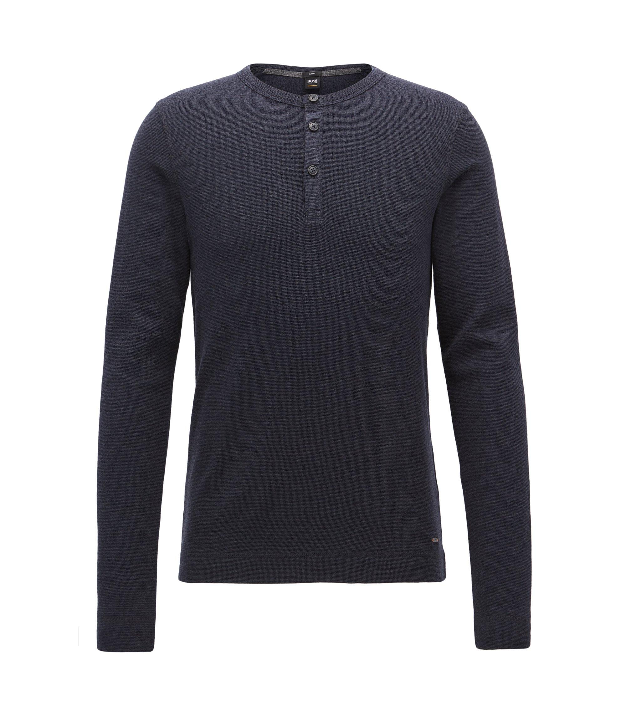 Slim-fit henley-T-shirt van gemêleerde katoen, Donkerblauw
