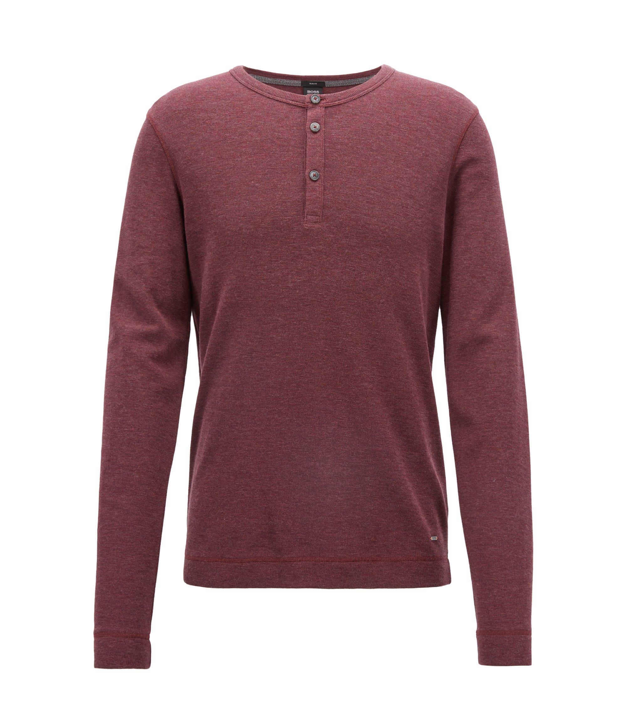 T-shirt à col tunisien Slim Fit, en coton chiné, Rouge sombre