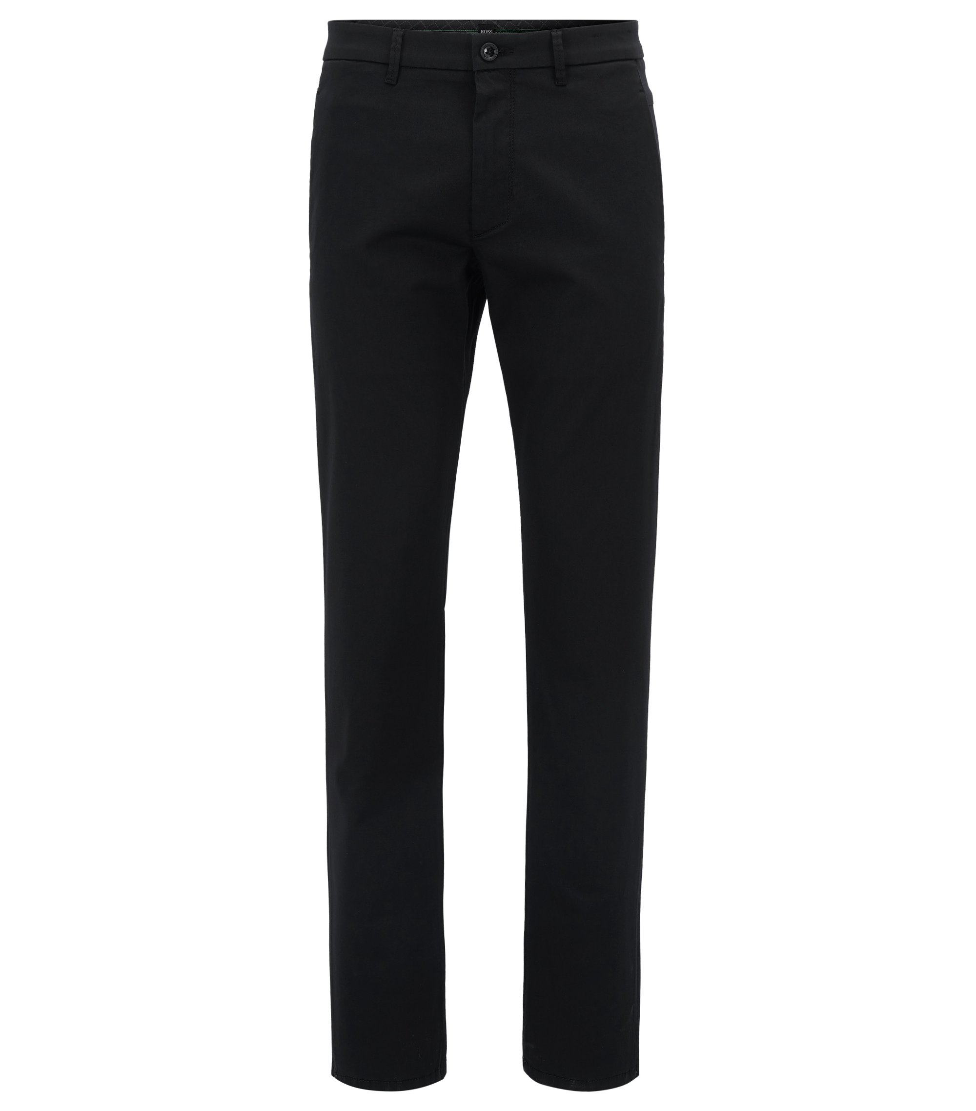 Regular-fit stretch chinos with satin finish, Black
