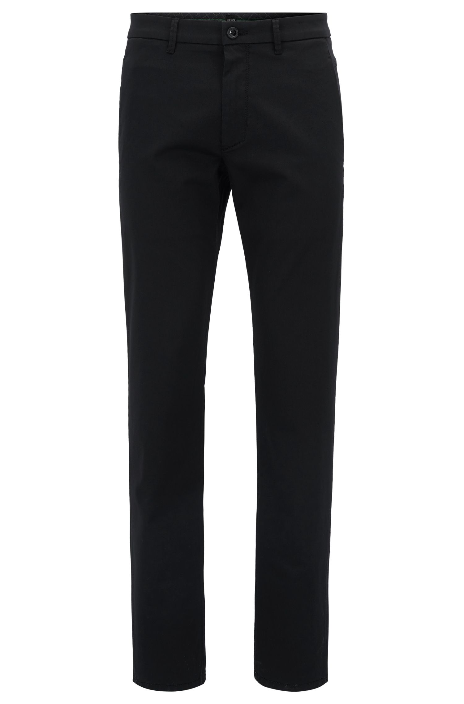 Chino Regular Fit stretch à la finition satinée, Noir