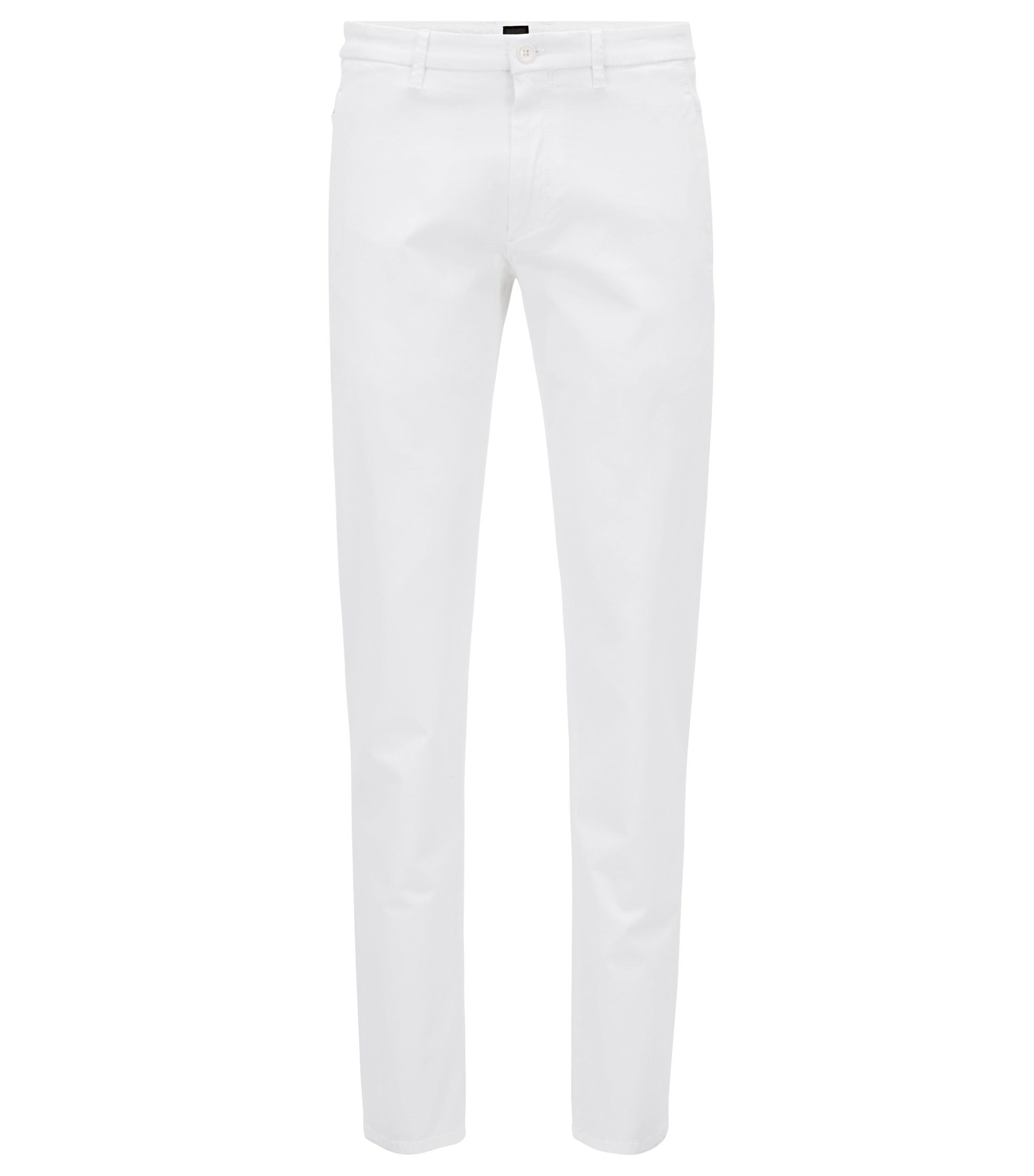 Regular-fit stretch chinos with satin finish, White