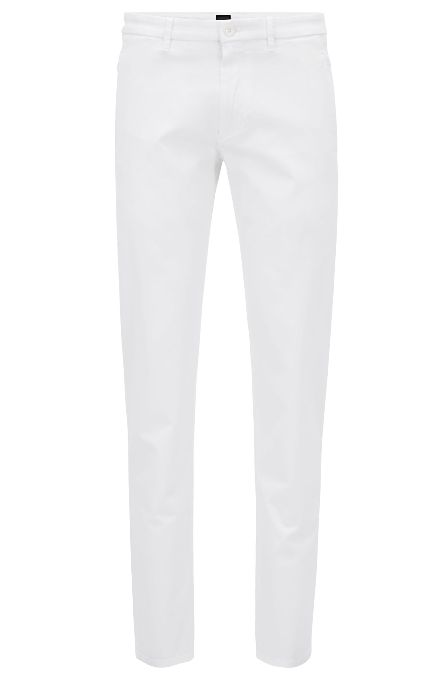Regular-Fit Chino aus elastischem Baumwoll-Mix mit Satin-Finish, Weiß
