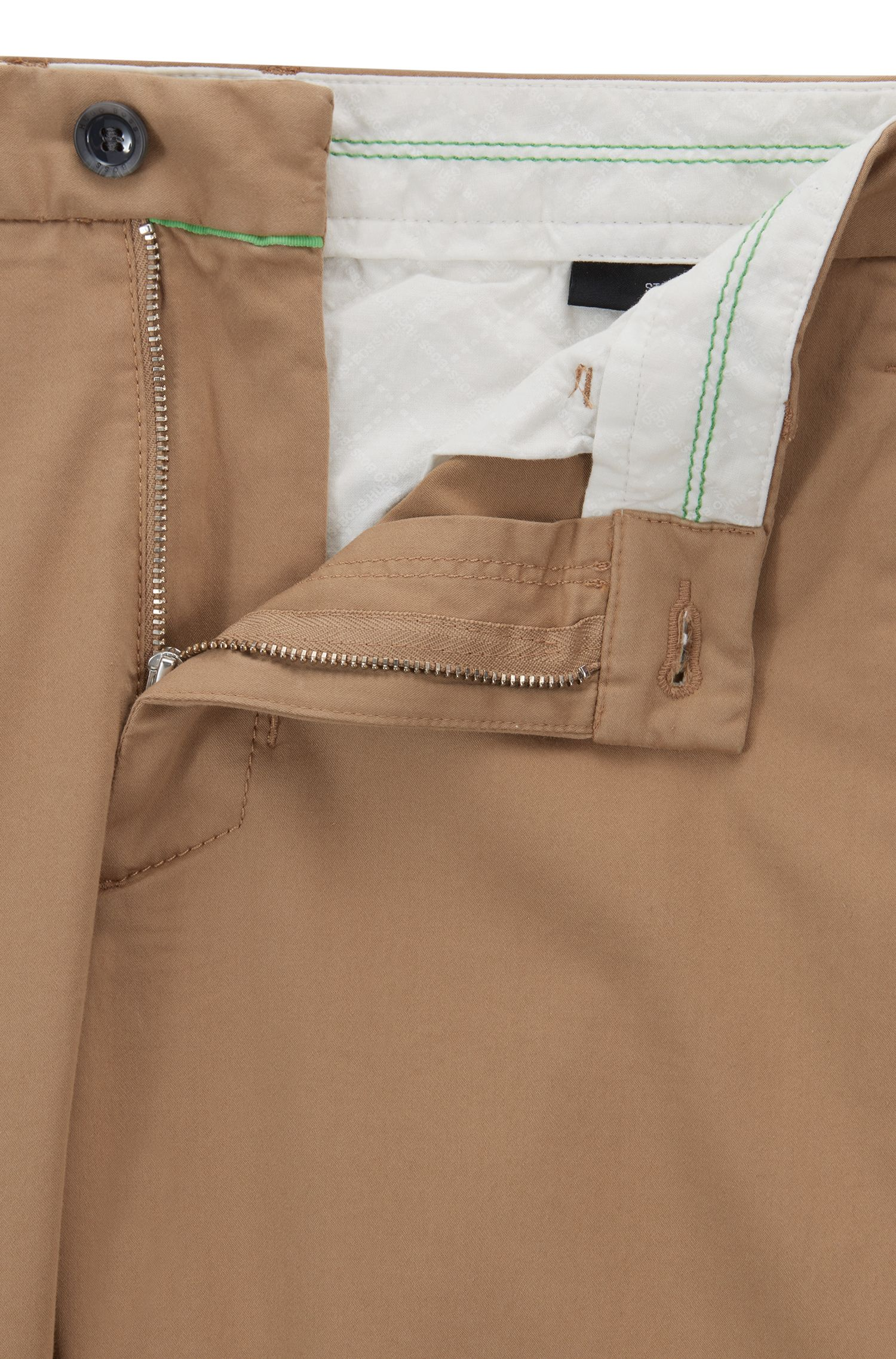 Regular-fit stretch chinos with satin finish, Beige